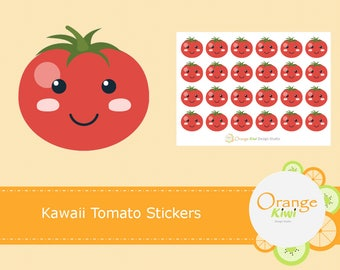 Kawaii Tomato Stickers, Fruit Stickers, Planner Stickers, Kawaii Stickers