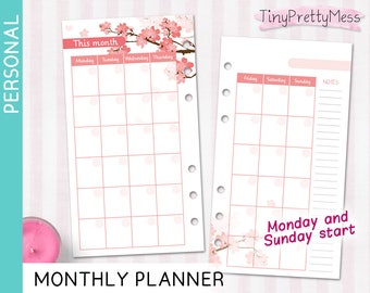 Printable Personal Calendar Monthly Planner Month on 2 pages Perpetual Undated for Filofax Personal, Kikki K Medium - PDF - Cherry Blossom