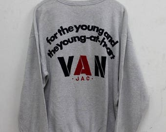 Mega Sale 20% Vintage 90s Van Jac For The Young And The Young At Heart Sweatshirt Big Logo Jumper Street Wear Designer Urban Fashion Sweater