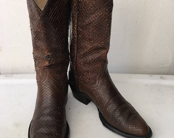 Vintage cowboy snake leather boots , brown western boots man size 9 1/2-10US.