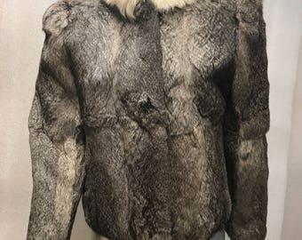 Rabbit fur coat woman size small .