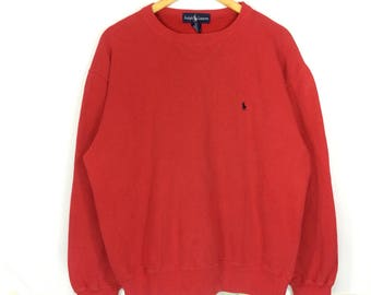 Vintage Polo Ralph Lauren Sweatshirt Polo Small Pony Embroidery Logo Pullover Jumper Crewneck Sweater Size M
