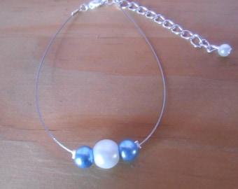 Simple blue and white wedding bracelet