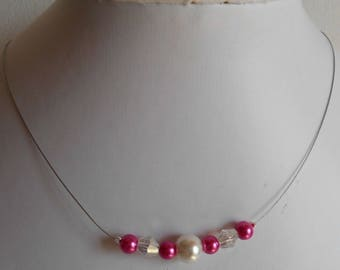 "Necklace ""collection harmony"" fuchsia and ivory"