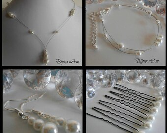 Set of 4 wedding white pearls cascade pieces