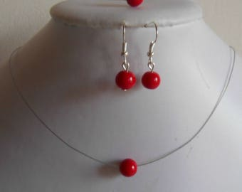Set of 3 wedding pieces solitaire Pearl red passion