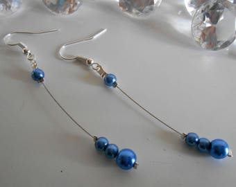 Dangle wedding Pearl Earrings Pearl blue