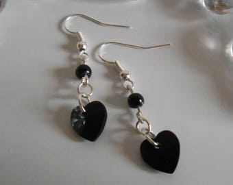Heart and black pearls earrings
