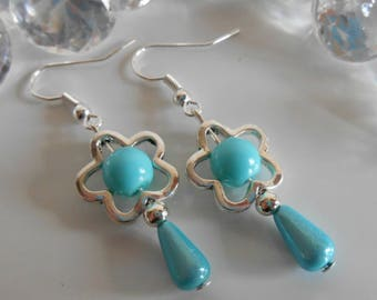 "Dangling ""Spring""turquoise Flower Earrings"