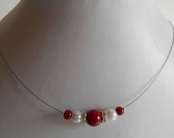 Collar wedding Burgundy and white pearls and rhinestones