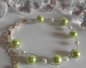 Wedding bracelet twist of lime green and white beads