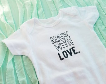 """Pregnancy Announcement Idea """"Made With Love"""" Baby Shower Gift for Girl or Boy, Infant Body Suit, Unisex Surprise Gender Outfit"""