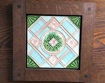 Framed Antique Fireplace Tile- Blue, Pink & Green