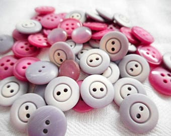 Mauve / Violet 50 pc. Lot French Vintage 1970's New Old Stock Buttons (C687)