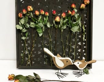 Wall art decoration with dried flowers dried roses