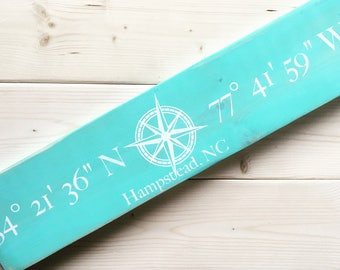 Wooden Sign, Wall Art, Coordinate Sign, Latitude Longitude Sign, Compass, Wall Decor, Address Sign, Home, Christmas Gift, Anniversary Gift