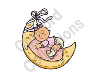 Sleeping Baby Girl - Machine Embroidery Design