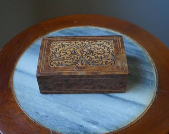 Vintage Wood Inlay Marquetry Box