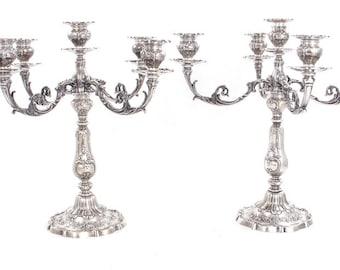Pair Gorham Silver Chantilly Grand Pattern Five-Light Candelabra