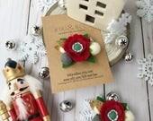 Red Christmas Woodland Garden Poppy Hair Clip // Crimson Red // Holiday Hair Clip // kikiandbee