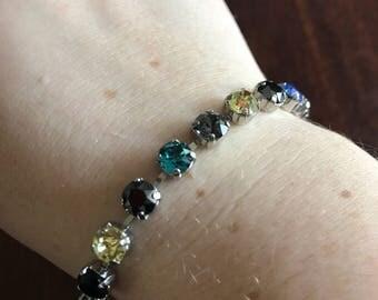 Swarovski crystal bracelet  6mm stones in blues and yellow