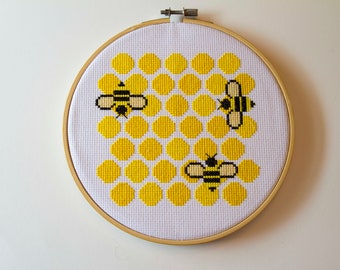 Honeycomb Cross Stitch Hoop Art, Bees, Hive, Yellow