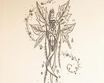 Fairy | Pen and Ink Drawing | Original Art