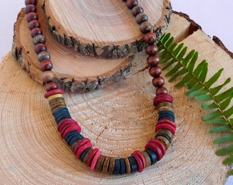 Natural Dyed Wood Necklace