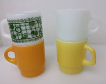 Fire King Mixed Lot 4 Mugs White Yellow Orange Green Apple Vtg Stackable Milk