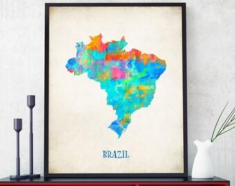 Brazil Map Wall Art, Brazil Map Print, Map Of Brazil Poster, Watercolour Brazil Map, Home Decor, Kids Room Brazil Theme (725)