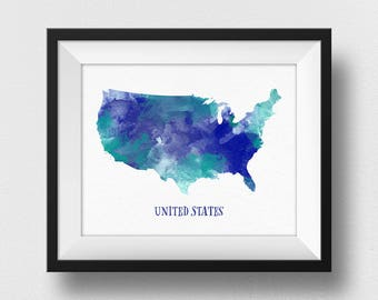 USA Map Wall Art, US Map Print, United States Map Poster, Map Of USA Painting, Watercolour Map, Home Decor, Travel Bedroom Wall Art (734)