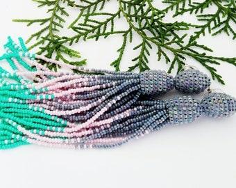 Beaded tassel earrings Grey pink mint bead earrings  Long beaded tassel earrings Oscar Fashion earrings Ombre beaded tassel