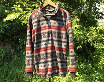 Fleece Pullover Vintage, 90s Fleece Jacket, Minimalist, Boho Sweater, Fleece Sweater, Slouchy Sweatshirt, 90s Grunge, Aesthetic, Pattern, L