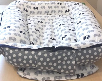Cordless Baby Nest / Babynest - Navy or Pink Elephants with White Dots On Gray,  shipping within US/U.S.