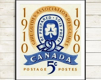 P108 Large art print: Girl Guides of Canada, Girl Guides Association, 1960s posters, gold and blue, girls room, girls decor, Canada prints