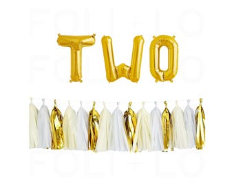 "TWO Letter Balloons | 16"" Gold Mylar Letter Balloons 