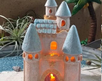 Fairy Garden Beach House, Beach Themed Fairy House, Fairy Sand Castle Miniature Gardening, Seaside Cottage, Sandcastle, Summer Fairy Garden