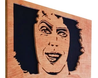 The Rocky Horror Picture Show - Frank N Furter scroll saw portrait - Plywood - Wall art