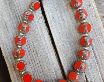Small Red Beads and Sterling Silver Bracelet, Small Red Glass Beaded Sterling Silver Bracelet, Red Beaded Bracelet, Small Red Bracelet