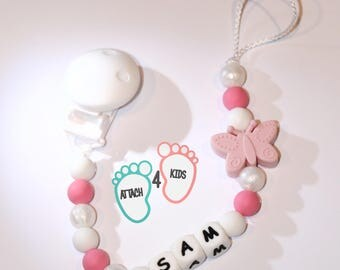 Pacifier clip personalized name - 100% silicone - Butterfly pink