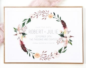 Julie + Robert Save The Date | Save The Date | Boho Wedding Invitation Set | Floral Wreath Wedding Suite | Watercolour Wedding Stationery