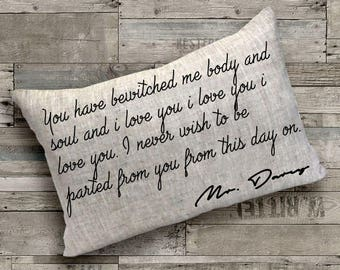Mr. Darcy Quote Pillow Cover -Cushion Cover,Gift for Her, Gift for Mom,Home Decor,Book Lovers Gift,Pride and Prejudice,Custom Pillow,Pillows