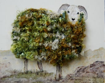 "Woolly sheep portrait ""Geoff""   Collage, mixed media picture"