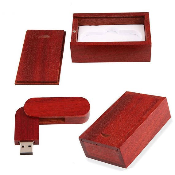 1 cl usb 32go avec boite de rangement en bois rouge. Black Bedroom Furniture Sets. Home Design Ideas