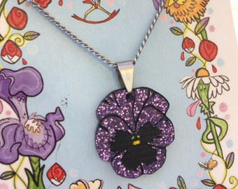 Purple pansy acrylic necklace