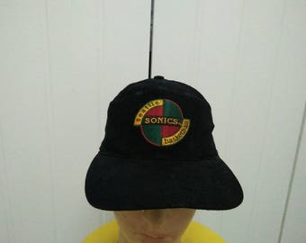 Rare Vintage Copyright 94' SEATTLE SONICS Big Logo Embroidered Spell Out Cap Hat Free size fit all