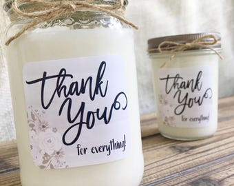 Thank You Soy Candle Gift Personalized Candle Gift Appreciation Gift Thank You For