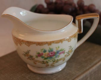 Vintage Noritake Creamer Pitcher - Cream Color with Gold Scrollwork / Pink, Blue, and Yellow Flowers