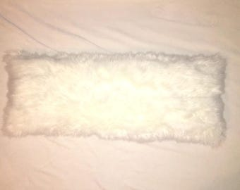 White Faux Fur Lumbar Pillow