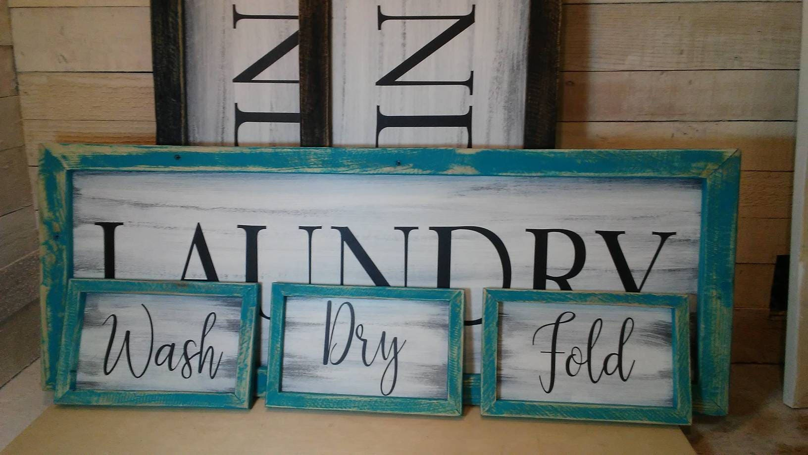 LAUNDRY ROOM SIGNS Set Of Four Wash Dry Fold Farmhouse Hand Painted